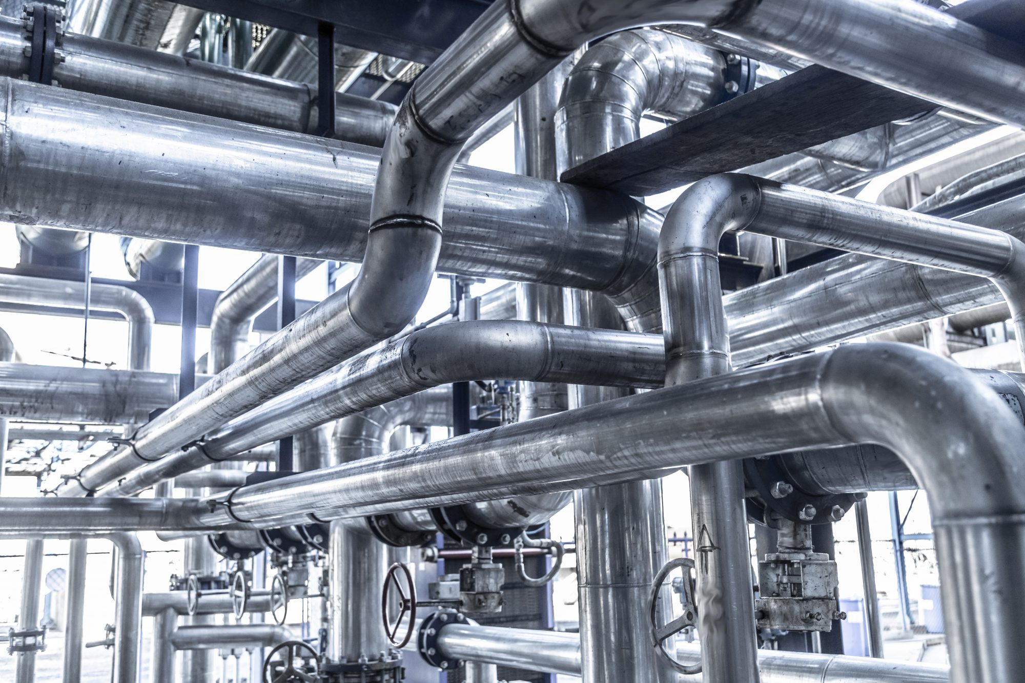 Stainless steel piping with valves and stainless steel actuators