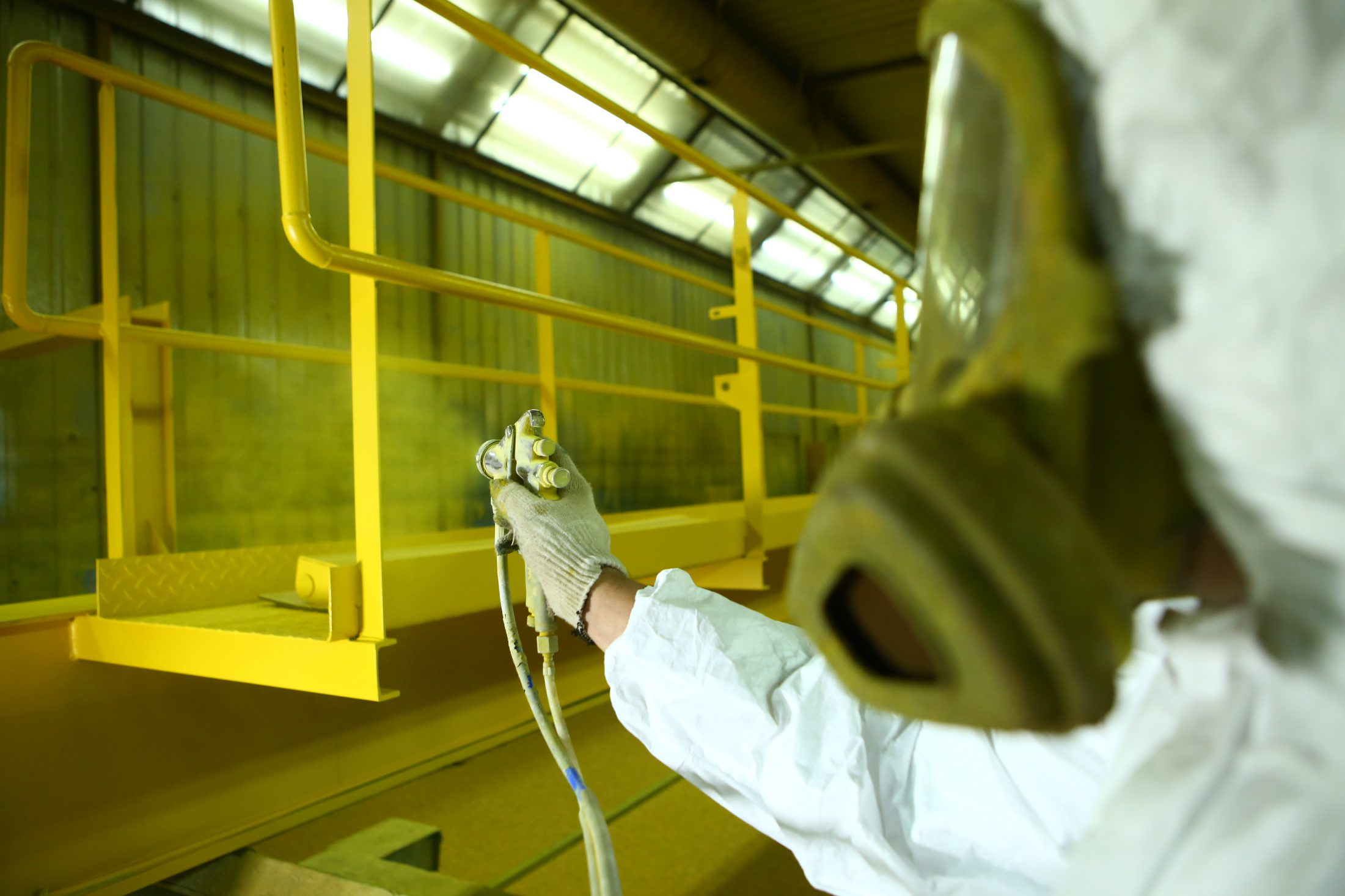 Industrial painting part safety yellow.