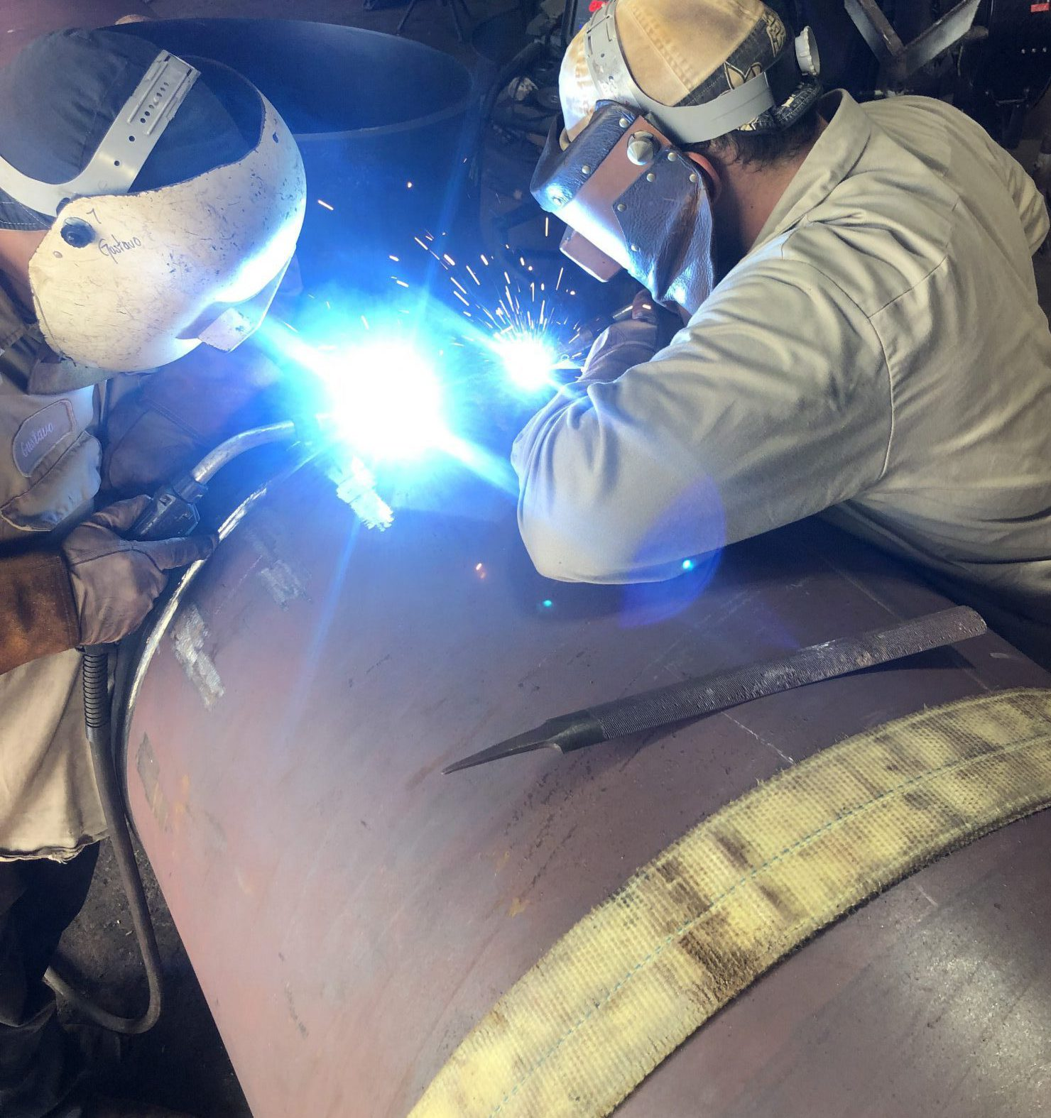 Welding 36 inch O.D. Carbon Steel Pipe