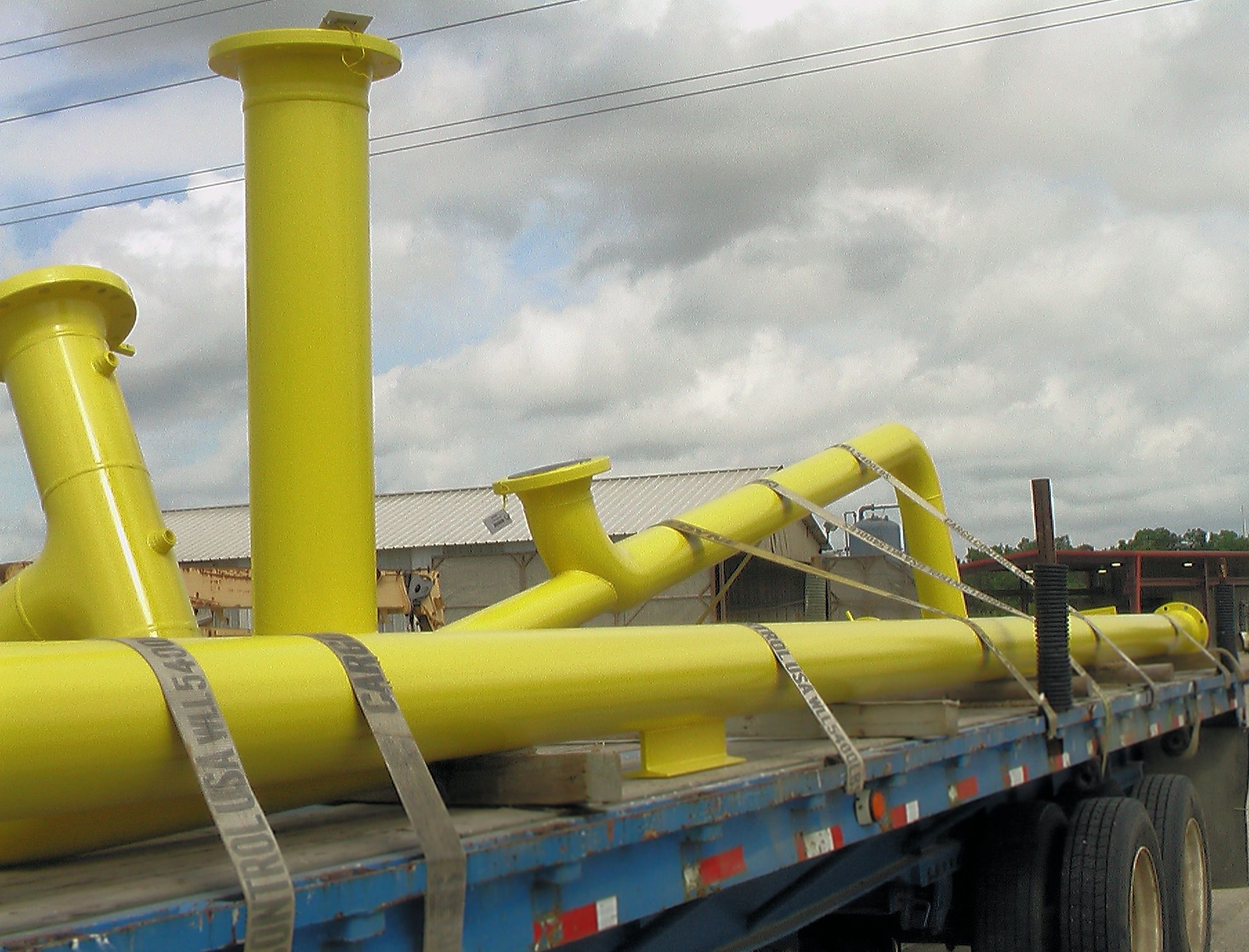 Safety yellow pipe spools.